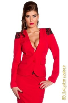 Sacou Amely Red marca JRV Exclusive Couture la 140 Lei