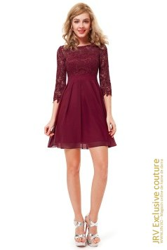 Rochie cocktail Edina Burgundi marca JRV Exclusive Couture la  Lei