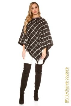 Poncho Chequered Black marca JRV Exclusive Couture la  Lei