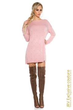 Rochie tricot Mabel Antique Pink marca JRV Exclusive Couture la 99 Lei